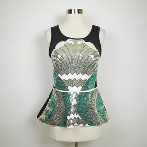 BEBE Silver & green sequined sleeveless blouse